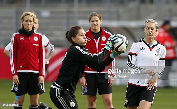 Goalkeeper Lisa Weiss and players of Germany Women's National team during a training session at Hardtwald stadion on October 24 2015 in Sandhausen...