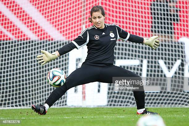 Goalkeeper Lisa Weiss makes a save during a Germany Women's Training Session on October 24 2014 in Offenbach Germany