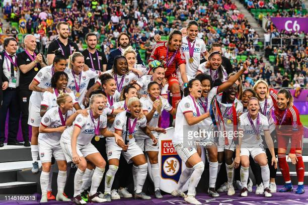 goalkeeper Lisa Weiss of Olympique Lyonnais women goalkeeper Sarah Bouhaddi of Olympique Lyonnais women goalkeeper Audrey Dupupet of Olympique...