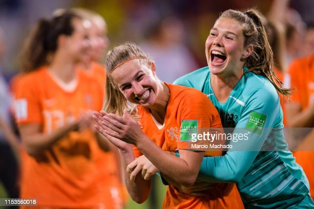 Goalkeeper Lize Kop of Netherlands and Jackie Groenen of Netherlands celebrate after beating Sweden with her goal during the 2019 FIFA Women's World...