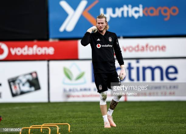 Goalkeeper Loris Karius of Besiktas attends a training session ahead of the Turkish Super Lig week 9 soccer match against Goztepe at Nevzat Demir...