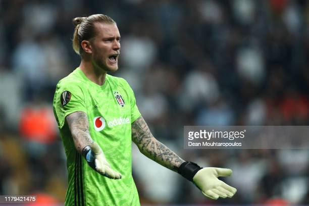 Goalkeeper, Loris Karius of Besiktas in action during the UEFA Europa League group K match between Besiktas and Wolverhampton Wanderers at Vodafone...