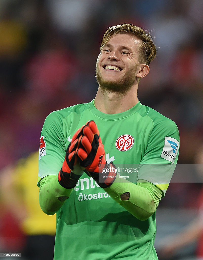 Goalkeeper Loris Karius of Mainz reacts during the Bundesliga match between 1. FSV Mainz 05 and Borussia Dortmund at Coface Arena on September 20, 2014 in Mainz, Germany.