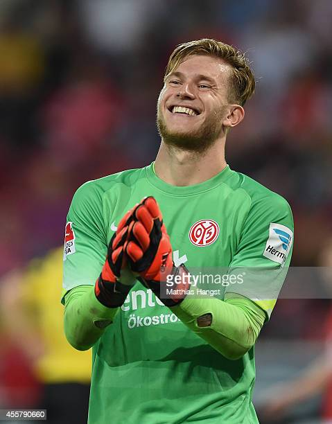 Goalkeeper Loris Karius of Mainz reacts during the Bundesliga match between 1. FSV Mainz 05 and Borussia Dortmund at Coface Arena on September 20,...