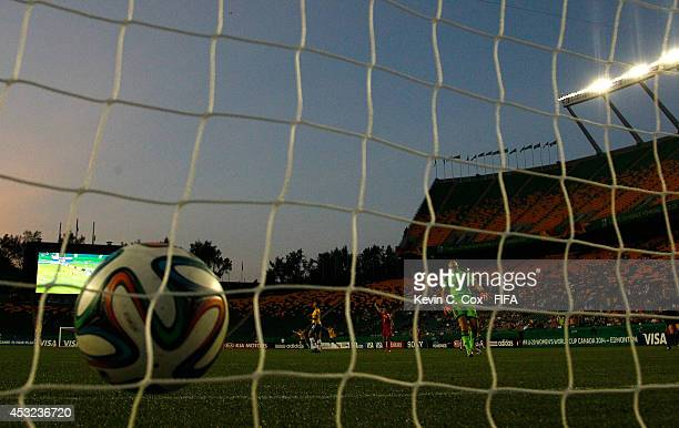 Goalkeeper Lu Feifei of China PR reacts after allowing a goal by Byanca of Brazil in the second half at Commonwealth Stadium on August 5 2014 in...