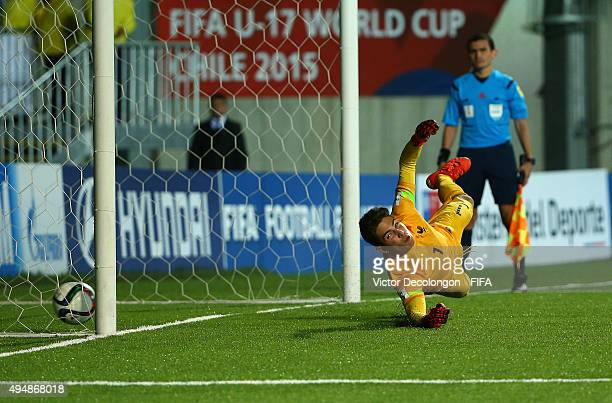 Goalkeeper Luca Zidane of France can't make the save on a shot during the penalty kick shootout in the France v Costa Rica Round of 16 FIFA U17 World...