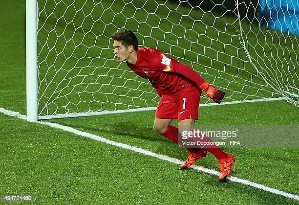 Goalkeeper Luca Zidane of France in gets ready for the Paraguay penalty kick during the Paraguay v France: Group F - FIFA U-17 World Cup Chile 2015...