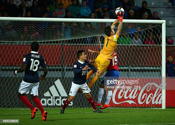 Goalkeeper Luca Zidane of France makes a save during the France v Costa Rica Round of 16 FIFA U17 World Cup Chile 2015 match at Estadio Chinquihue on...