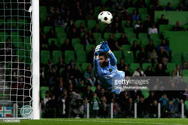 Goalkeeper Luciano da Silva of Groningen attempts the save during the Eredivisie match between FC Groningen and De Graafschap at the Euroborg Stadion...