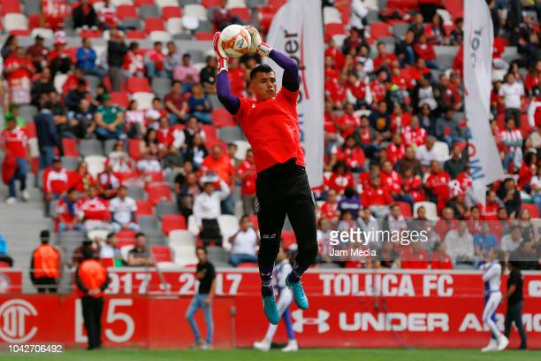 Rodrigo Salinas of Toluca celebrates with teammates after scoring the first goal of his team during the 10th round match between Toluca and Necaxa as...