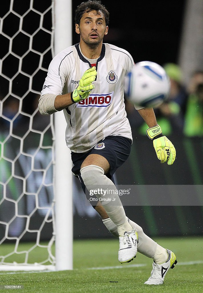 Goalkeeper Luis Michel #1 of Chivas de Guadalajara reacts to a pass during the game against the Seattle Sounders FC on October 12, 2010 at Qwest Field in Seattle, Washington. The Sounders defeated Chivas de Guadalajara 3-1.