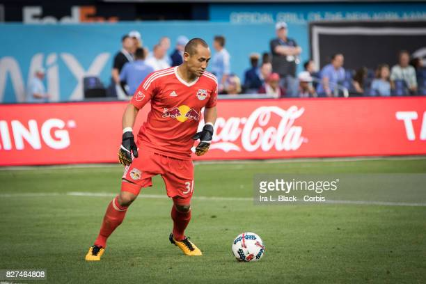 Goalkeeper Luis Robles of New York Red Bulls clears the ball during the MLS match between the New York City FC and New York Red Bulls at Yankee...