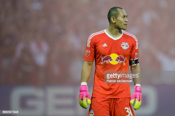 Goalkeeper Luis Robles of New York Red Bulls in action against DC United in the second half at RFK Stadium on October 22 2017 in Washington DC