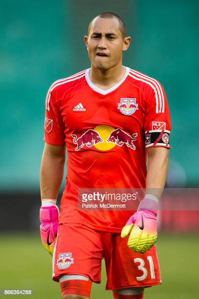 Goalkeeper Luis Robles of New York Red Bulls in action against DC United during the final MLS game at RFK Stadium on October 22 2017 in Washington DC