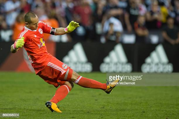 Goalkeeper Luis Robles of New York Red Bulls kicks the ball against DC United in the second half at RFK Stadium on October 22 2017 in Washington DC