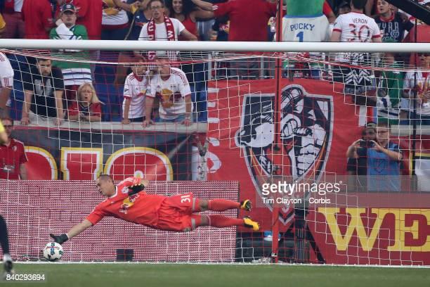 Goalkeeper Luis Robles of New York Red Bulls makes a save during the New York Red Bulls Vs New York City FC MLS regular season match at Red Bull...