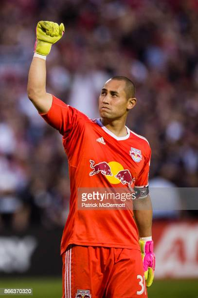 Goalkeeper Luis Robles of New York Red Bulls reacts after the Red Bulls defeated DC United 21 during the final MLS game at RFK Stadium on October 22...