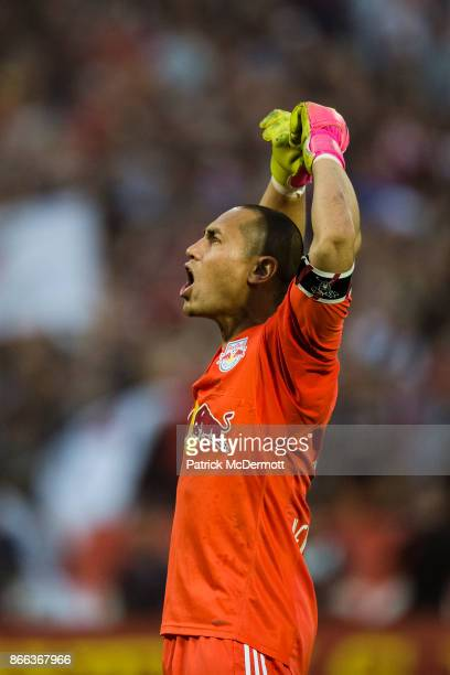 Goalkeeper Luis Robles of New York Red Bulls reacts against DC United in the second half at RFK Stadium on October 22 2017 in Washington DC