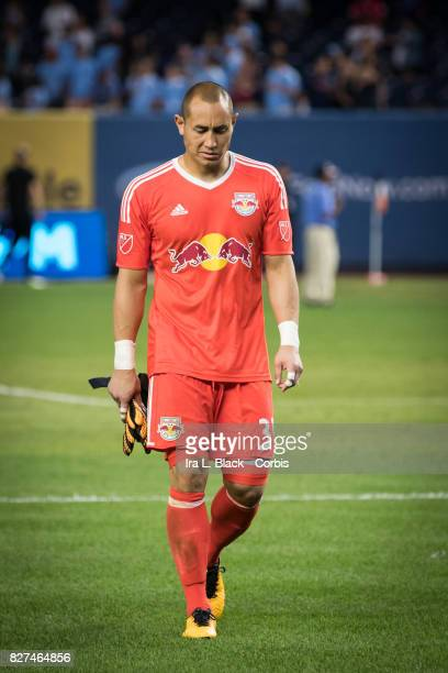 Goalkeeper Luis Robles of New York Red Bulls reacts to the loss of the match after the MLS match between the New York City FC and New York Red Bulls...
