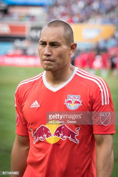 Goalkeeper Luis Robles of New York Red Bulls reacts to the match at the half of the match after the MLS match between the New York City FC and New...