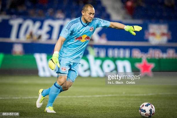 Goalkeeper Luis Robles of the NY Red Bulls kicks the ball out of the goal during the MLS match between LA Galaxy vs New York Red Bulls at Red Bull...