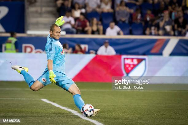 Goalkeeper Luis Robles of the NY Red Bulls kicks the ball out of the goal during the Toronto FC vs New York Red Bulls MLS match at Red Bull Arena on...