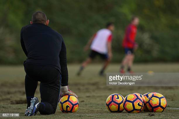 Goalkeeper Luis Robles watches play during the USMNT training session at StubHub Center on January 19 2017 in Carson California