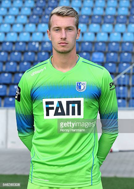 Goalkeeper Lukas Cichos poses during the team presentation of 1 FC Magdeburg at MDCCArena on July 7 2016 in Magdeburg Germany Lukas Cichos