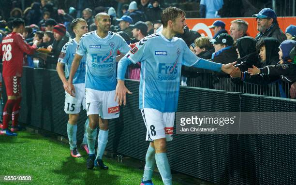 Goalkeeper Lukas Fernandes of SonderjyskE Troels Klove of SonderjyskE Simon Poulsen of SonderjyskE and Christian Jakobsen of SonderjyskE celebrates...