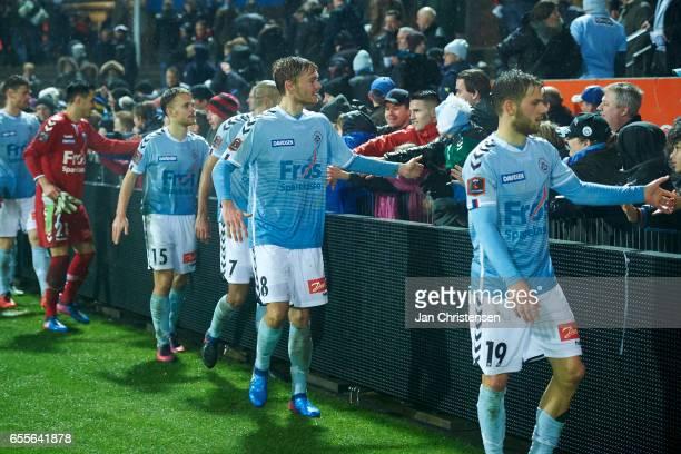 Goalkeeper Lukas Fernandes of SonderjyskE Troels Klove of SonderjyskE Simon Poulsen of SonderjyskE Christian Jakobsen of SonderjyskE and Philip...