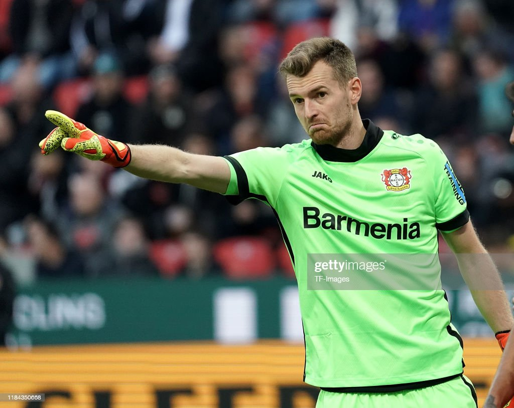 goalkeeper Lukas Hradecky of Bayer 04 Leverkusen gestures during ...