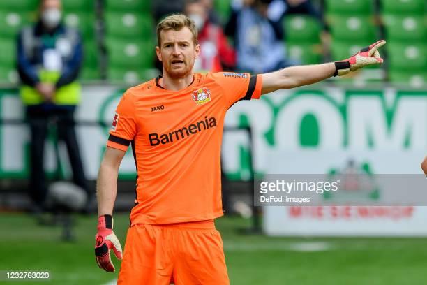 Goalkeeper Lukas Hradecky of Bayer 04 Leverkusen gestures during the Bundesliga match between SV Werder Bremen and Bayer 04 Leverkusen at Wohninvest...