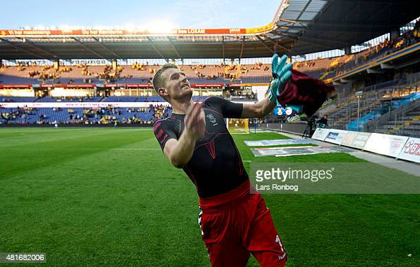 Goalkeeper Lukas Hradecky of Brondby IF applauds the fans after the UEFA Europa League Qualification match between Brondby IF and PFC Beroe Stara...