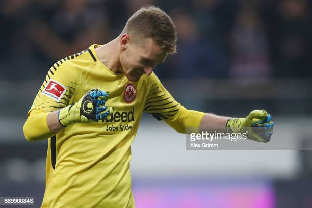 Goalkeeper Lukas Hradecky of Frankfurt celebrates after the final whistle of the Bundesliga match between Eintracht Frankfurt and SV Werder Bremen at...
