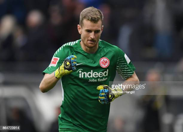 Goalkeeper Lukas Hradecky of Frankfurt celebrates during the Bundesliga match between Eintracht Frankfurt and Borussia Dortmund at CommerzbankArena...