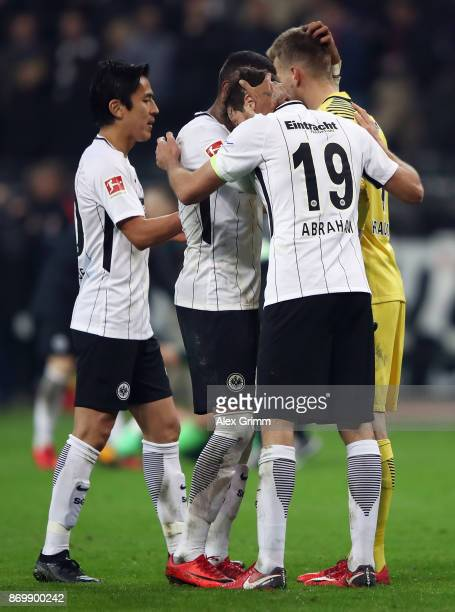 Goalkeeper Lukas Hradecky of Frankfurt celebrates with team mates after the Bundesliga match between Eintracht Frankfurt and SV Werder Bremen at...