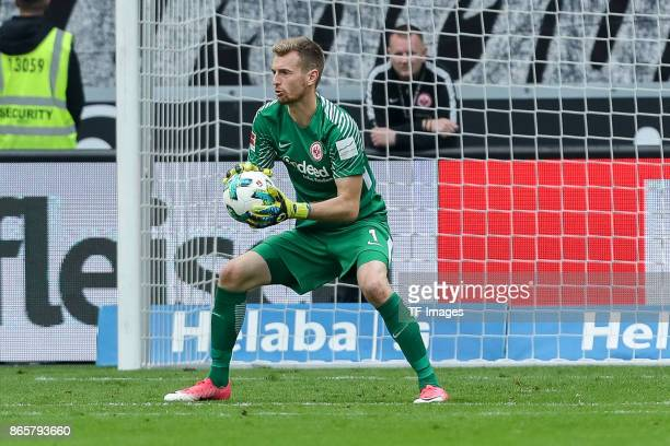 Goalkeeper Lukas Hradecky of Frankfurt controls the ball during the Bundesliga match between Eintracht Frankfurt and Borussia Dortmund at...