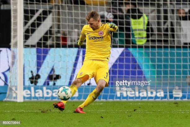 Goalkeeper Lukas Hradecky of Frankfurt controls the ball during the Bundesliga match between Eintracht Frankfurt and FC Bayern Muenchen at...