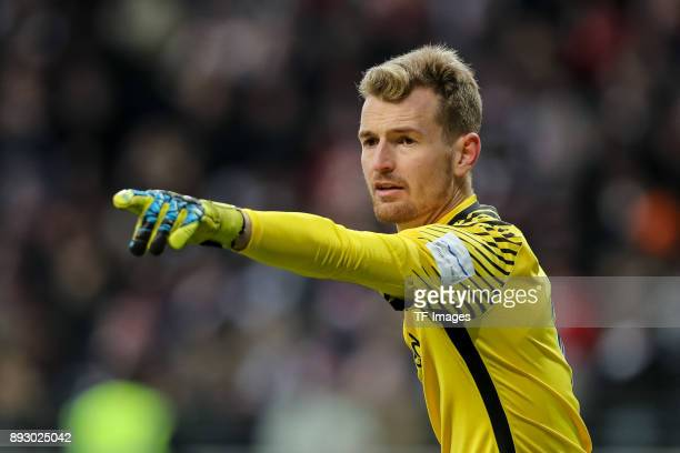 Goalkeeper Lukas Hradecky of Frankfurt gestures during the Bundesliga match between Eintracht Frankfurt and FC Bayern Muenchen at CommerzbankArena on...