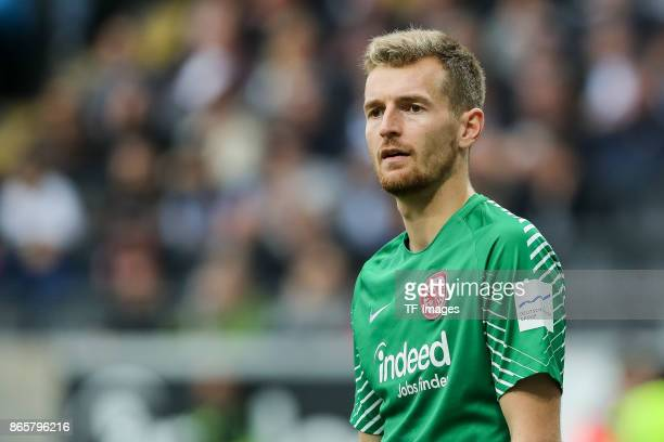 Goalkeeper Lukas Hradecky of Frankfurt looks on during the Bundesliga match between Eintracht Frankfurt and Borussia Dortmund at CommerzbankArena on...