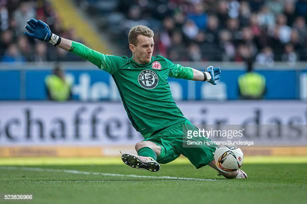 Goalkeeper Lukas Hradecky of Frankfurt makes a save during the Bundesliga match between Eintracht Frankfurt and 1. FSV Mainz 05 at Commerzbank-Arena...