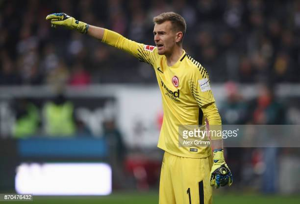 Goalkeeper Lukas Hradecky of Frankfurt reacts during the Bundesliga match between Eintracht Frankfurt and SV Werder Bremen at CommerzbankArena on...