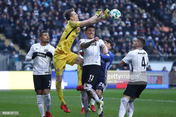 Goalkeeper Lukas Hradecky of Frankfurt saves a ball during the Bundesliga match between Eintracht Frankfurt and FC Schalke 04 at CommerzbankArena on...