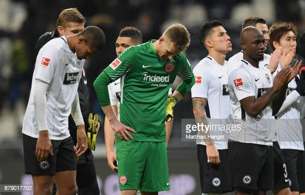Goalkeeper Lukas Hradecky of Frankfurt shows his disappointment after the Bundesliga match between Eintracht Frankfurt and Bayer 04 Leverkusen at...