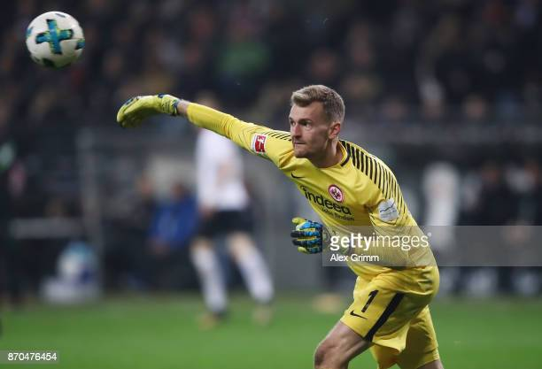 Goalkeeper Lukas Hradecky of Frankfurt throws the ball during the Bundesliga match between Eintracht Frankfurt and SV Werder Bremen at...
