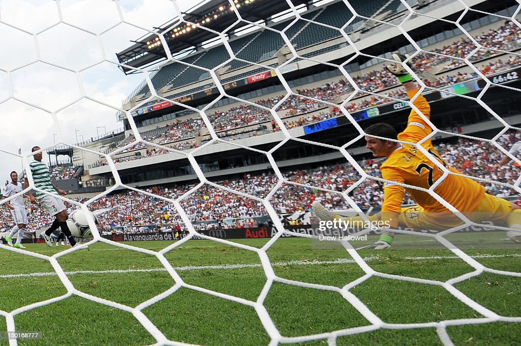 Goalkeeper Lukasz Zaluska #24 of Celtic is unable to make the save on a second half goal by Karim Benzema #9 of Real Madrid at Lincoln Financial Field on August 11, 2012 in Philadelphia, Pennsylvania. Real Madrid won 2-0.