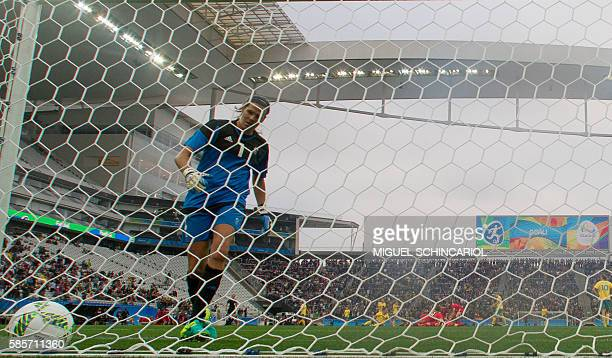Goalkeeper Lydia Willains of Australia reacts after a goal of Christine Sinclair of Canada during their Rio 2016 Olympic Games women's First Round...