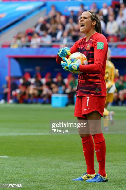 Goalkeeper Lydia Williams of Australia controls the ball during the 2019 FIFA Women's World Cup France group C match between Australia and Italy at...