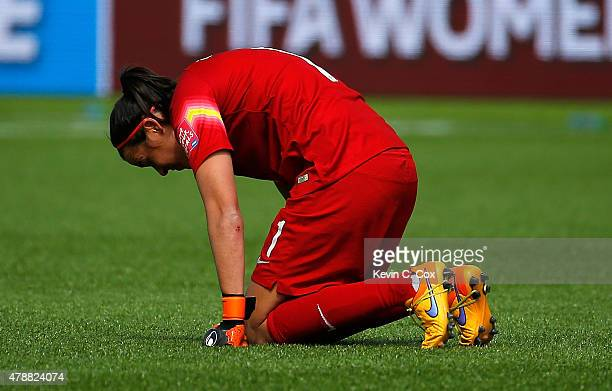 Goalkeeper Lydia Williams of Australia reacts after their 10 loss to Japan in the FIFA Women's World Cup Canada 2015 Quarter Final match between...
