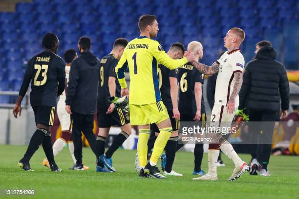 Goalkeeper Maarten Stekelenburg of Ajax and Rick Karsdorp of AS Roma during the UEFA Europa League Quarter Final: Leg Two match between AS Roma and...